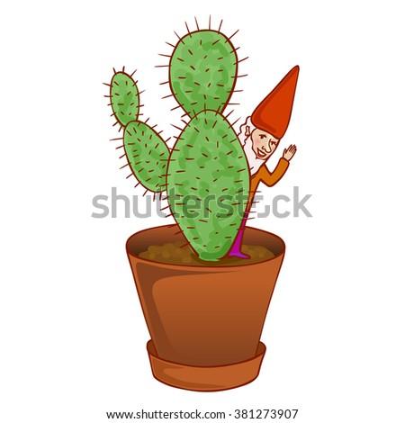 cute fairytale dwarf hiding behind a cactus - stock vector