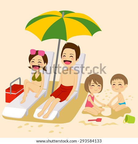 Cute family on beach sunbathing relaxing and playing on vacation - stock vector