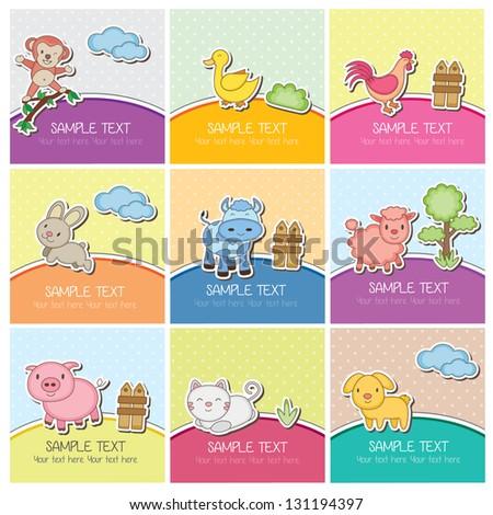 cute farm animal cards - stock vector