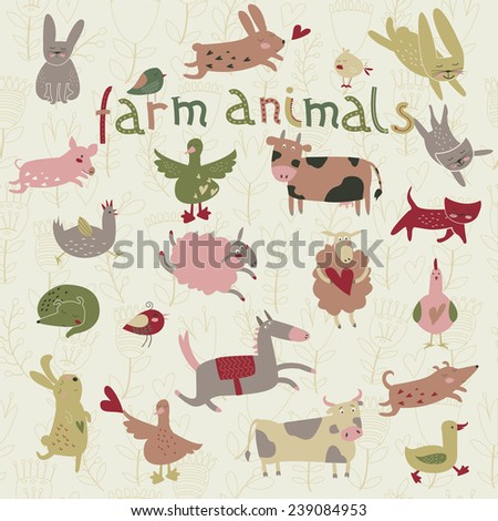 Cute farm animals in cartoon style. Bunnies, dogs, horse, cow, ox, hens, cats, birds, sheep and geese.  - stock vector