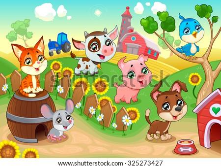 Cute farm animals in the garden. Vector cartoon illustration. - stock vector