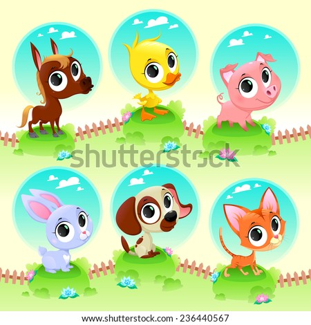 Cute farm animals. Vector cartoon illustration - stock vector