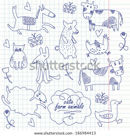 Cute farm animals vector set. Funny hand drawn horse, pig, cat, dog, cow, hen, duck, sheep and bull in cartoon style. - stock vector