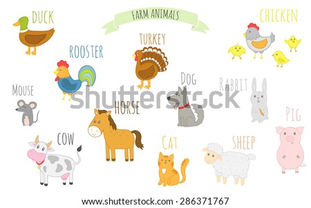 Cute farm animals with names: horse, cow, sheep, pig, chicken, cat, dog, duck, turkey. Vector illustration for kids. Isolated characters. For kindergarten and school.  - stock vector