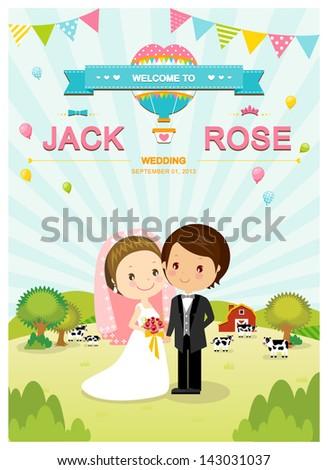 Cute farm barn and cow wedding invitation card template vector/illustration - stock vector
