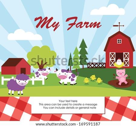 cute farm card design. vector illustration - stock vector
