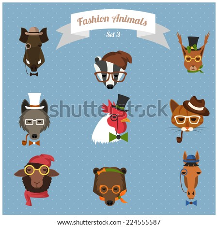 Cute fashion Hipster Animals with flat design. Vector Illustration - stock vector