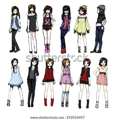 cute fashion models sketch - stock vector
