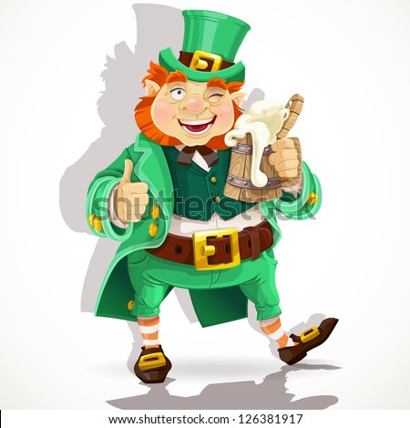 Cute fat Leprechaun with a pot of ale foam. Poster St. Patrick's Day - stock vector