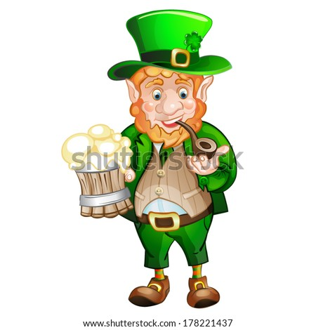 Cute fat Leprechaun with a pot of ale foam.  St. Patrick's Day - stock vector
