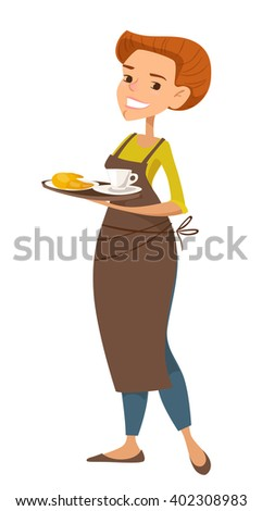Cute female character waiter with a cup of coffee. Beautiful girl. Cartoon flat style. - stock vector