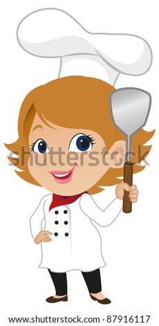 Cute Female Chef - stock vector