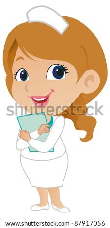 Cute Female Nurse - stock vector
