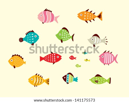cute fish vector - stock vector