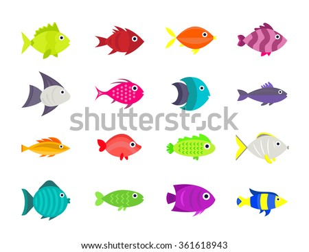 Cute fish vector illustration icons set. Fish flat style vector illustration. Fish icons isolated. Tropical fish, sea fish, aquarium  fish set isolated on white background. Sea color flat design fish - stock vector