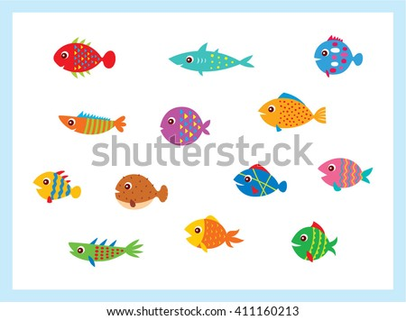 Cute fish vector illustration icons set. Fish flat style vector illustration. Fish icons isolated. Tropical fish, sea fish, aquarium fish set isolated on white background. Sea color flat design fish - stock vector