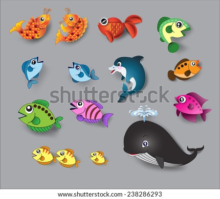cute fish vector.paper cut style. - stock vector