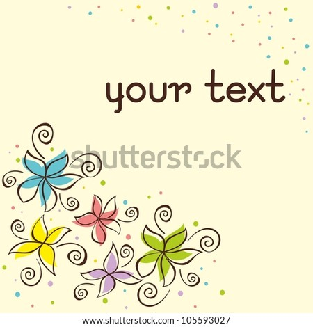 Cute floral background. Vector illustration with hand-drawn flowers. - stock vector