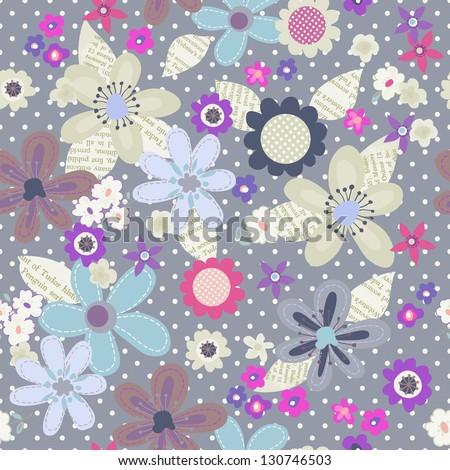 cute floral cutouts seamless repeat - stock vector