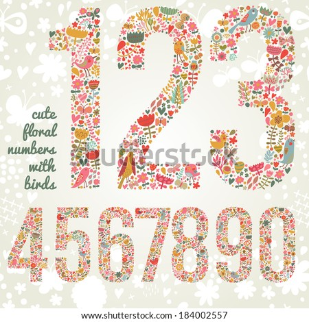 Cute floral numbers with birds. Numbers made of flowers and birds in bright colors. Zero, one, two, three, four, five, six, seven, eight, nine - signs in vector - stock vector