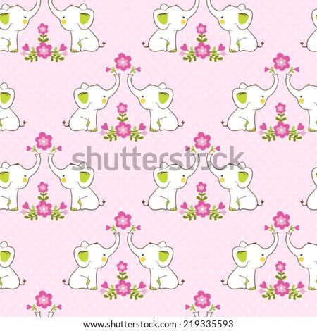 Cute floral seamless pattern with elephants. Childish vector background. - stock vector