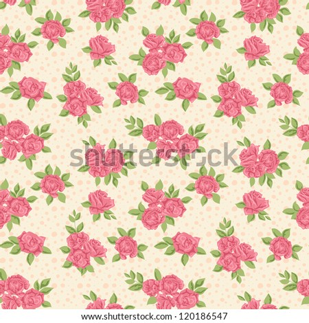 Cute floral seamless pattern with pink roses - stock vector
