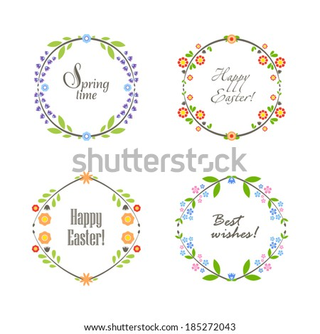 Cute floral spring frame - stock vector