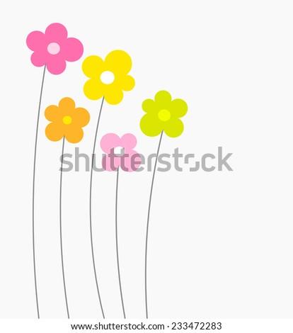 Cute flower card. Vector illustration - stock vector