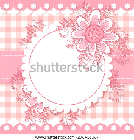 Cute flower photo frame. Baby shower card. Scrapbook elements. Vector illustration. - stock vector