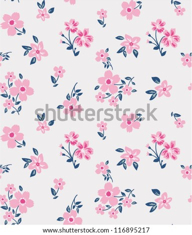 cute flowers in pink,romantic floral pattern,burgundy pattern - stock vector