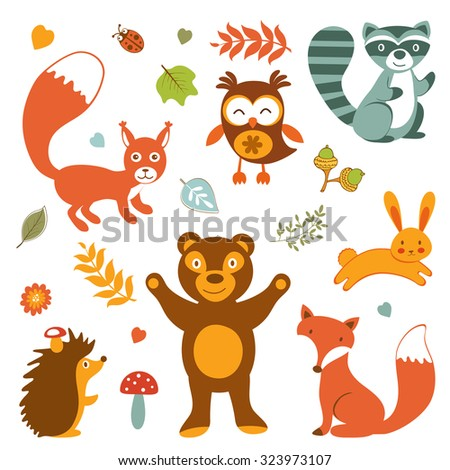 Cute forest animals colorful collection. vector illustration - stock vector