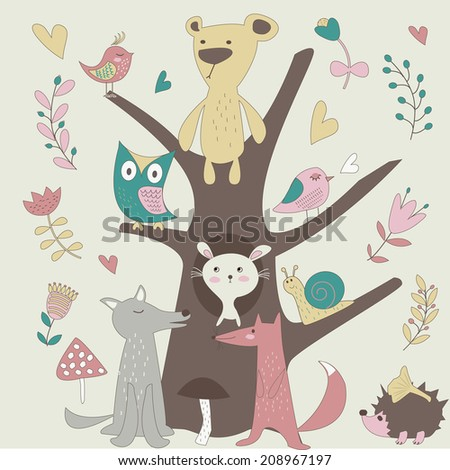 Cute forest animals in vector set. Bear, fox, wolf, snail, hedgehog, bunny and birds in cartoon style. - stock vector