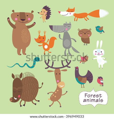Cute forest animals on a green background. Childish vector illustration of fox, deer, wolf, bear, birds, owl, squirrel, snake, boar, hare and hedgehog. - stock vector