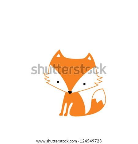 cute fox - stock vector
