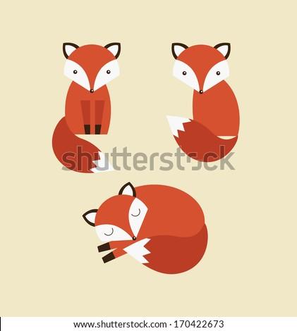 cute fox collection. vector illustration - stock vector