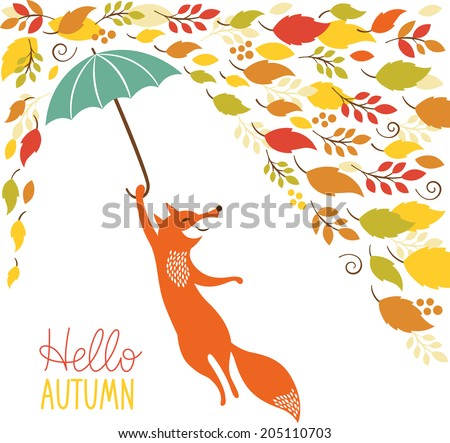 cute fox fly with umbrella  - stock vector
