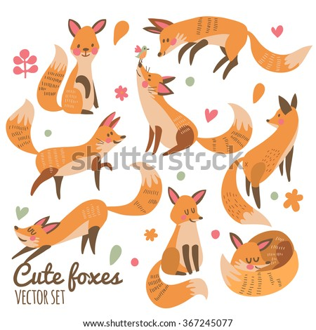 Cute foxes vector set. Eight awesome foxes sitting, jumping, playing, standing, smiling and sleeping. Lovely animal collection for sweet designs  - stock vector