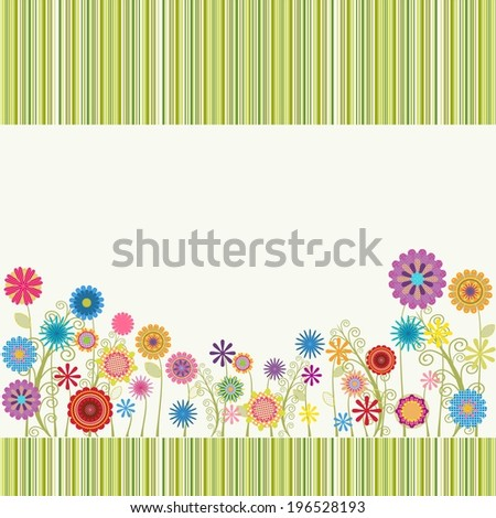 cute frame with flowers - stock vector