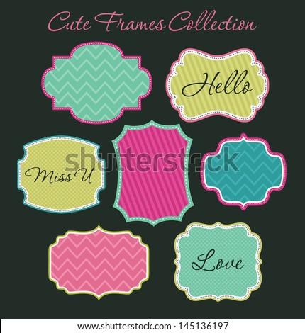 cute frames collection. vector illustration - stock vector