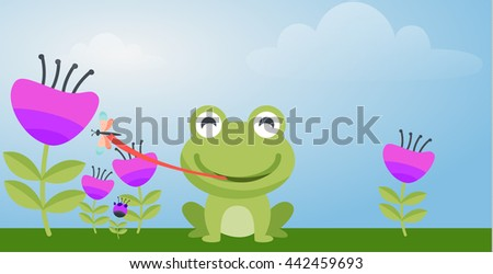 cute frog eating insects cartoon - stock vector