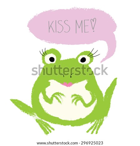 Cute Frog Kiss Me - watercolor vector illustration of fairy tale - frog sitting and asking for a kiss. Little prince or princess frog with kiss lips and speech bubble. Hand drawn. Eps 10. 4 - stock vector