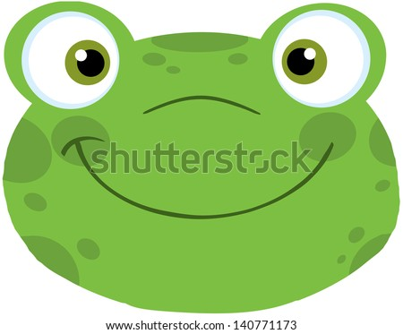 Cute Frog Smiling Head. Vector Illustration - stock vector