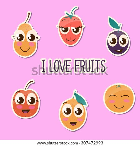 Cute fruit stickers collection. I love fruits. Cartoon design.  - stock vector