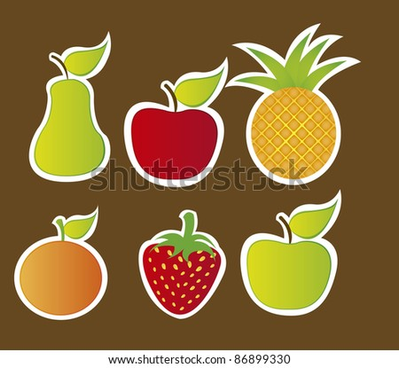 cute fruits isolated over brown background. vector - stock vector