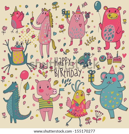 Cute funny animals in vector. Childish Birthday invitation card. Birds, horse, pig, bear, frog, crocodile and elephant in nice set - stock vector
