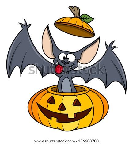 cute funny bat in pumpkin - Halloween vector illustration - stock vector