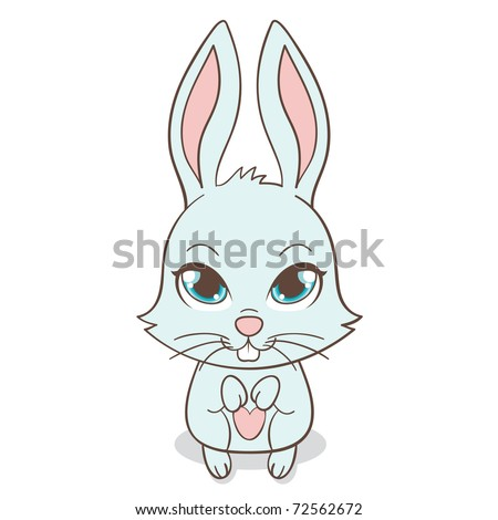 Cute funny bunny with big eyes, vector illustration - stock vector