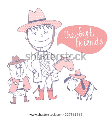 Cute funny card in vector. Childish Birthday invitation card the best friends - stock vector