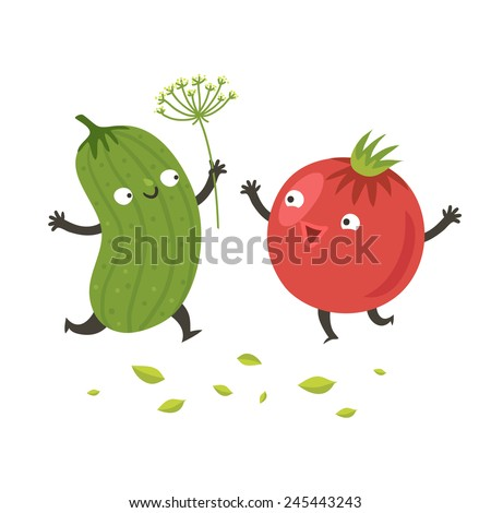 Cute funny cartoon cucumber and tomato are going to hug. Smiling vegetable characters. Vector colorful illustration isolated on white in flat style - stock vector