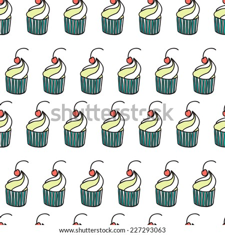 Cute funny seamless pattern with cartoon sweet cupcakes. Pattern can be used for surface textures, wallpaper, pattern fills, web page background.  - stock vector